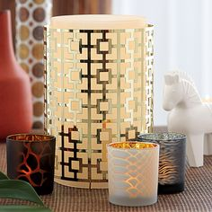 """Jonathan Adler Windlicht """"Nixon"""" und Teelichttrio Safari Chic.... Safari Chic, Jonathan Adler, Partylite, Candle Holders, Candles, Shopping, Home Decor, Decoration, Beautiful Things"""