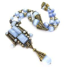 Image of Vintage Art Deco Czech Blue Moon Glow Filigree Metal Glass Bead…