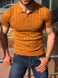 Virgin Camel Slim Fit Striped Polo Shirt