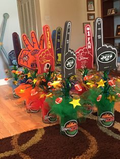 Sports centerpieces from my son's reception. Simple and cheap!