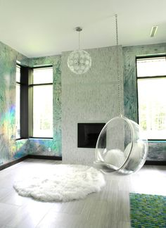 Hologram foil over turquoise walls. So love the bubble chair! Bubble Chair, Turquoise Walls, Decoration, My Room, My Dream Home, Home And Living, Interior And Exterior, Living Spaces, Living Room