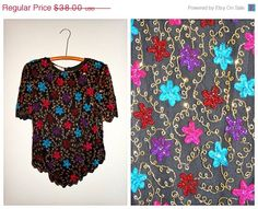 1/2 PRICE 80's KAZAR Sequined Blouse // Floral Silk by braxae
