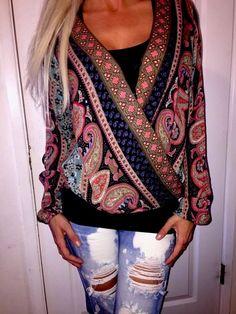 Hollister long sleeve BLOUSE TOP SHIRT Wrap Front Peasant multi color paisley M #Hollister #Blouse #Casual