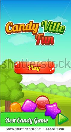 Game Background with jellies and play button - stock vector