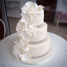All white wedding cake Grace Couture Cakes Couture Cakes, All White Wedding, Wedding Cakes, Desserts, Food, Deserts, Wedding Cake, Cake Wedding, Dessert