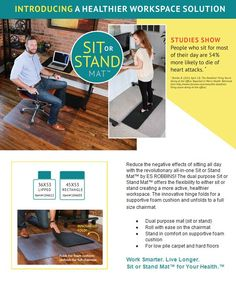 The revolutionary all-in-one Sit or Stand Mat offers the flexibility to either sit or stand creating a more active, healthier work-space.
