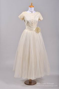1950's Shirt Style Chiffon Vintage Wedding Dress