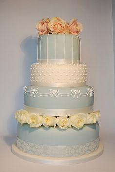 4 Tier Round Vintage Duck Egg Blue Wedding Cake With Royal Icing Hand Piped Detail