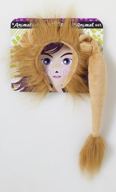 Lion Ears and Tail Animal Set - Roar your way into the party with this quick and easy lion costume kit.  The head piece has soft gold fabric covered headband and is decorated with a soft mane and attached ears. Little plush lion tail has a fluffy end which attaches to a belt loop or could be safety pinned on.   #lion #ears #tail #costume #lionking #animal #yyc