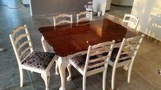 Repurposed ball and claw dining table. Painted with chalk paint.