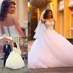 Ball Gown Wedding Dresses Sweetheart Sleeveless Lace-up Sweep Train Beaded and Tulle 2016 Bridal Gown Dresses