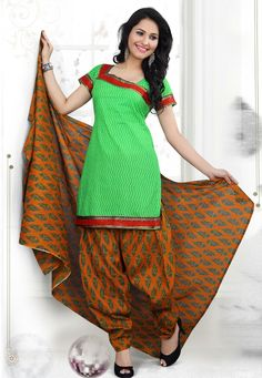 Add oodles of charm into your daily wear by adding this #Green-Mustard Color Cotton Designer Patiala #SalwarKameez which is accompanied with a printed dupatta and bottom. The suit features zig zag print and a lace embellished yoke and border.