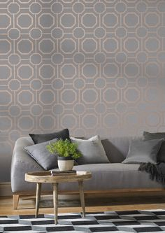 Marrying an earthy, textured grey backdrop with rose gold metallic geometric detailing creates the beautiful Sashiko Rose Gold. Living Room Decor On A Budget, Paint Colors For Living Room, Home Living Room, Interior Design Living Room, Diy Room Decor, Living Room Designs, Bedroom Decor, Home Decor, Room Inspiration