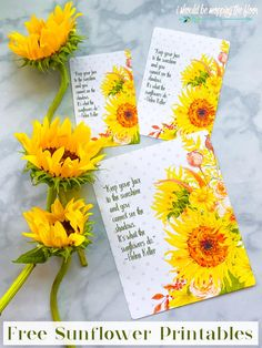 Free Sunflower Printable with Helen Keller Quote   Three Sizes and Two Formats Available Fall Crafts, Decor Crafts, Helen Keller Quotes, Bee Do, Sunflower Wallpaper, Autumn Decorating, Happy Flowers, Yellow Sunflower, Scrapbook Cards