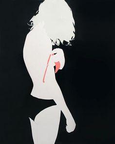 Natasha Law. Pink Strip on Green, 2013, Gloss on Cartridge, 60 x 48 Inches. Voltz Clarke LLC