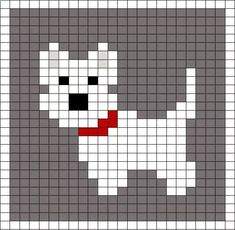 Little Scottie dog pattern chart, great for making crochet corner to corner C2C blanket, or afgan. This could be used as a Graphgan pattern - Dianes Crafting