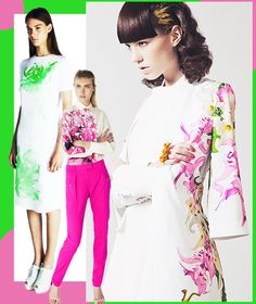 Bright on white place florals for Resort 2014. Jonathan Saunders | Preen by Thornton Bregazzi | Kingdom of Style