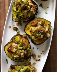 Baked Acorn Squash with Chestnuts, Apples and Leeks Recipe on Food & Wine (replace heavy cream with a vegan substitute or even coconut milk?)