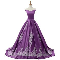 Sunvary 2016 Cap Sleeves Ball Gown Appliques Quinceanera Prom Dresses... ($62) ❤ liked on Polyvore featuring dresses, gowns, purple ball gowns, applique gown, cap sleeve evening dress, purple gown and quinceanera dresses