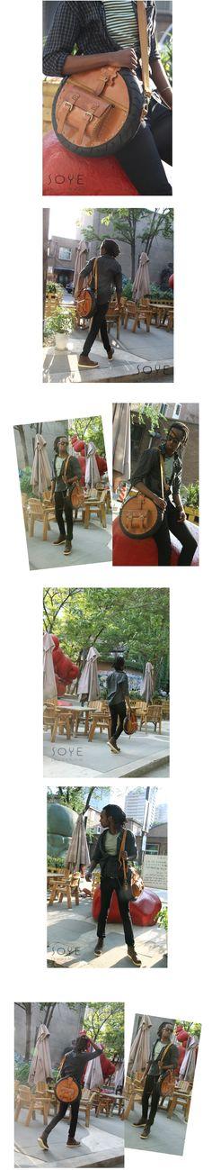Custom handmade Leather Circular  Satchel model show