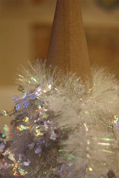 DIY Tinsel Tree....This is the perfect project for tinsel!  Glittery, glitzy and fun!