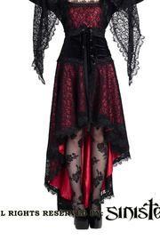 PRE-ORDER Katarina Red Fishtail Gothic Skirt par Sinister