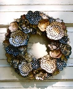 Melissa Jill Barber; Black, white, cream, beige, paper flower wreath via Etsy.