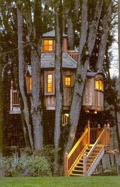 I always wanted a tree house, but my dad never built one. So my brother & I just played in the three trees in our backyard. We imagined they were so many different things. Way better then any tree house. Beautiful Tree Houses, Cool Tree Houses, Beautiful Homes, Beautiful Places, Amazing Tree House, Amazing Houses, Small Houses, Future House, My House