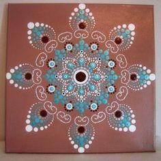 I chose the name Southwestern Mandala because the colors I used remind me of the southwest. Dot Art Painting, Mandala Painting, Pebble Painting, Painting Patterns, Pebble Art, Stone Painting, Mandala Pattern, Mandala Design, Pattern Art