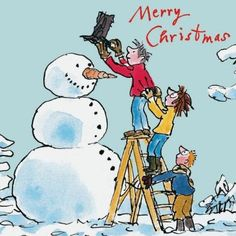 Pack of 10 Quentin Blake Marie Curie Charity Christmas Cards - Making Snowman