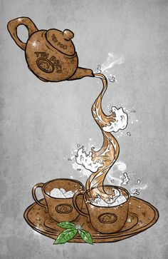Coffee Art - Coffee As the Art and As the Medium of Art I Love Coffee, Coffee Break, Vino Y Chocolate, Coin Café, Tea Illustration, Teapots And Cups, Tea Art, My Cup Of Tea, Coffee Cafe