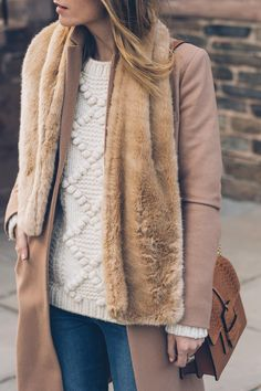 Jess Ann Kirby styles an L.L. Bean signature chunky knit sweater, faux fur scarf and camel coat
