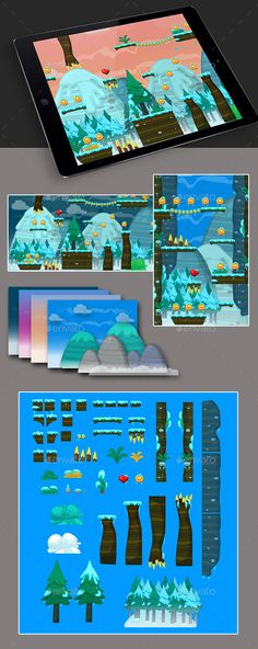 Ice Game Platformer Tilesets by storchiana Tileset for different types of games! It has a large set of elements and blocks to create the required le Jeopardy Game Template, Powerpoint Game Templates, Board Game Template, Game Level Design, Game Design, 2d Game Art, Video Game Art, Free Game Assets, Ice Games