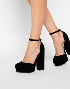 Черные туфли. Каблук. Толстый каблук. С ремешком.