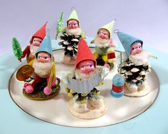 Pinecone Elf or Dwarf Figures Vtg 1950's Christmas Ornaments w Box | eBay