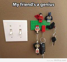 Lego key holder… I like the super hero version better than the plain blocks. I may need to do this.