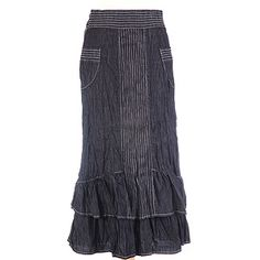 European styling and attractive detail stitching. Beautiful feminine skirt with contoured stitched waistband, detailed pockets and slimming center stitching with playful ruffles. Skirt is crinkle washed for a crinkled look. Modest Denim Skirts, Jean Skirts, Long Skirts, Ruffle Skirt, Dress Skirt, Denim Fashion, Fashion Outfits, Plus Size Sewing Patterns, Plaid And Leather