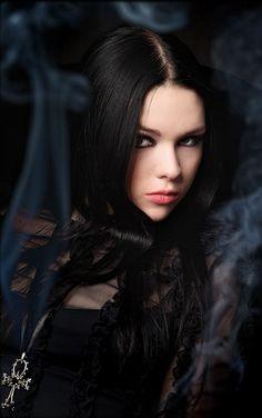Gothic Girl Long Black Hair
