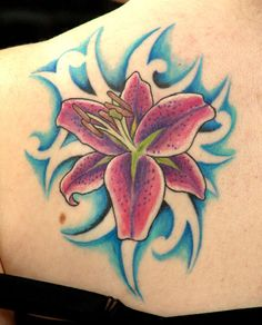 df3178256 stargazer lily tattoo - Google Search love the blue background Lily Tattoo  Design, Tattoo Designs