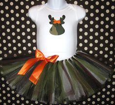 Daddy's Little Deer Tutu and Onesie...Camo Onesie and Camo Tutu with Matching Bow Headband...Infant, Baby Girl, Toddler. $35.00, via Etsy.