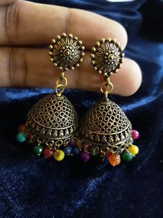 Multicolored Jhumkis telling there own story Silver Accessories, Drop Earrings, Jewellery, Fashion, Moda, Jewels, Jewelry Shop, Jewelry, Drop Earring