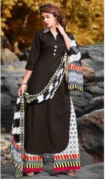 Black Color Cotton Straight Cut Style Pakistani Stitched Formal Dresses with…