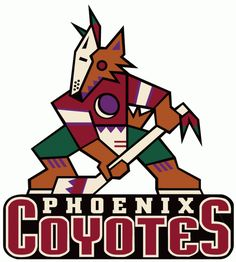 Phoenix Coyotes Primary Logo (1997) - Multi-colored coyote with hockey stick over script