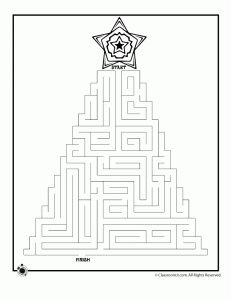 Christmas Tree Maze 1 -- mazes, mad libs, word puzzles, things to keep boredom at bay over the holiday