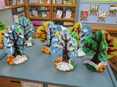 4 ΕΠΟΧΕΣ 015 Kindergarten Activities, Art Activities, Preschool Class, School Projects, Art Projects, Projects To Try, Winter Art, Winter Theme, Elementary Music Lessons