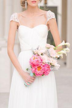 Lace cap sleeves... Photo Source: every last detail. #weddingdress #bouquet