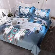 4pc//suit 3D Print Bedding Cotton Wolf in Snow Duvet cover+sheet+2pillow shams