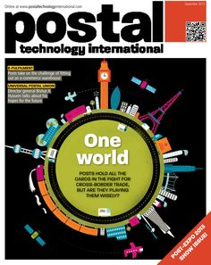 Postal Technology International magazine cover featuring an illustration by Shaw Nielsen, for a story on cross-border e-commerce