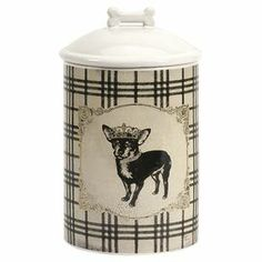 "Perfect for storing treats or adding a whimsical touch to your countertops, this charming ceramic canister features a chihuahua motif and polka-dot details.    Product: CanisterConstruction Material: CeramicColor: White, cream, and blackDimensions: 10"" H x 5"" Diameter"