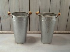 2pc Metal Vases Vintage Galvanized Syrup by FrogLevelNaturals, $40.00